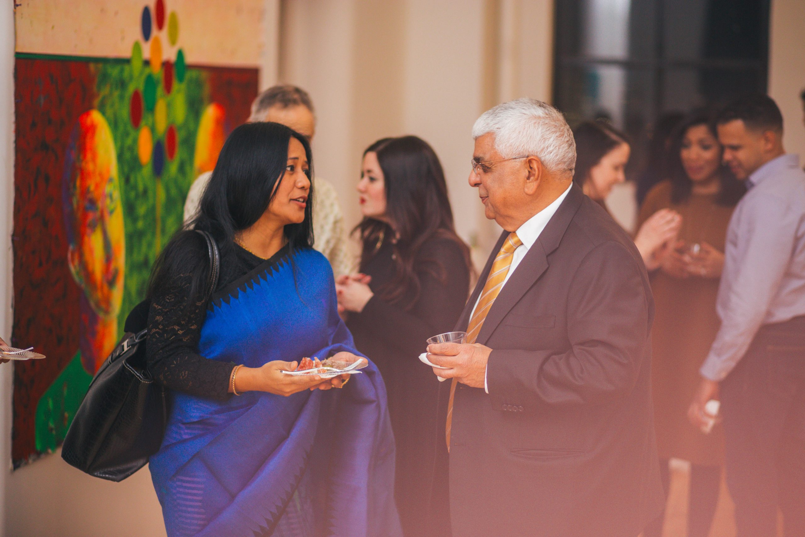 AFI artist, writer, and civil rights activist Binalakshmi Nepram speaks with Board Chair Dinesh Khosla. Westbeth Artists Housing, December 2017. Photography by Joshua Carrigan.