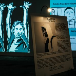 """""""Hands Up"""" by Ganzeer on display at Revolutions & Movements Festival. Dupont Underground, September 2018. Photography by Nosrat Tarighi."""