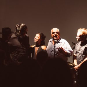 Board Chair Dinesh Khosla introduces musicians Ash Koosha and Emel Mathlouthi at Revolutions & Movements Festival. Dupont Underground, September 2018. Photography by Nosrat Tarighi.